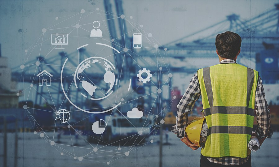 Foreman Working with Global business connection technology interface global partner connection of Container Cargo freight ship for Logistic Import Export background, internet of things,Business Logist